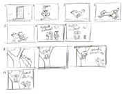 Storyboard for the title sequence of Roobarb and Custard Too