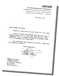 The original refusal letter from the BBC